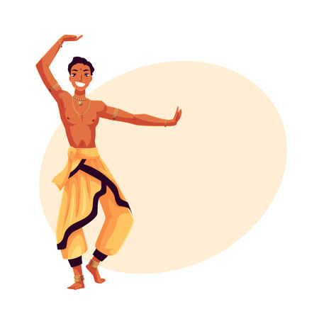 Indian male dancer in traditional harem pants, cartoon vector illustration on background with place for text. Traditional Indian male dancer wearing baggy pants and ankle brecelets, Bollywood performer