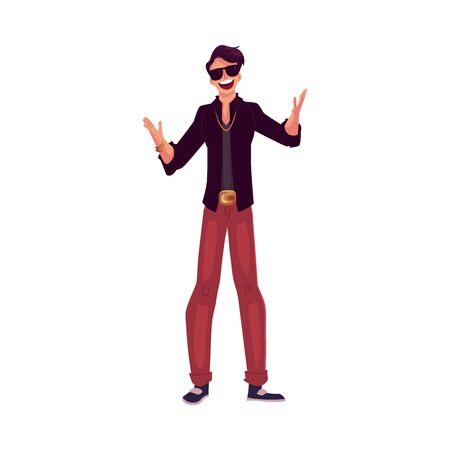 party animal: Young stylish clubber man wearing sunglasses and golden chain at a party, drinking cocktails, having fun, cartoon vector illustration isolated on white background. Man in sunglasses, party animal