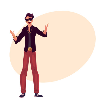 clubber: Young stylish clubber man wearing sunglasses and golden chain at a party, drinking cocktails, having fun, cartoon vector illustration on background with place for text. Man in sunglasses, party animal