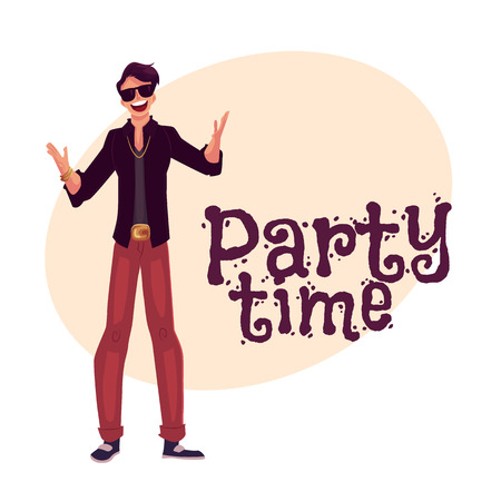 clubber: Young stylish clubber man wearing sunglasses and golden chain at a party, drinking cocktails, having fun, cartoon style invitation, greeting card design. Party invitation, advertisement, Man