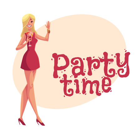 clubber: Young clubber girl in short red dress drinking cocktail at party, cartoon style invitation, greeting card design. Party invitation, advertisement, Young beautiful woman drinking cocktail and having fun
