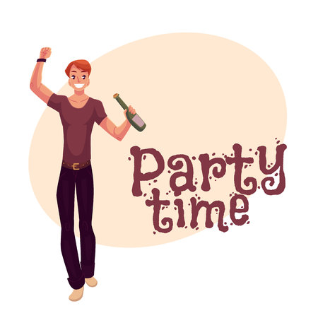 clubber: Young man dancing with beer bottle at party, in night club, cartoon style invitation, greeting card design. Party invitation, advertisement, Young handsome man dancing at a nightclub, drinking Illustration