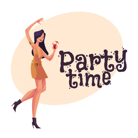 clubber: Young clubber girl in short dress dancing with a cocktail in hand, cartoon style invitation, greeting card design. Party invitation, advertisement, Young beautiful woman drinking cocktail and having fun Illustration