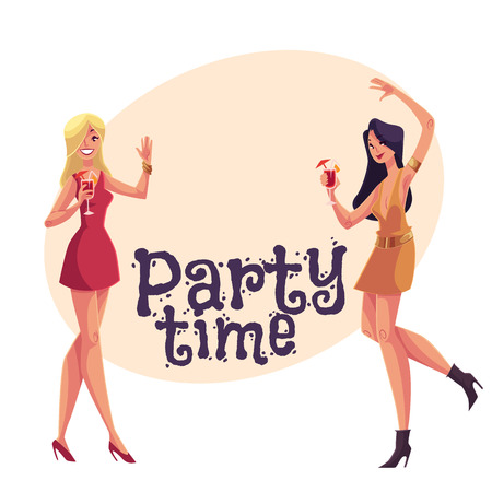 clubber: Young clubber girls, blond and black haired, in short red dresses dancing at party, cartoon style invitation, greeting card design. Party invitation, advertisement, Young women drinking cocktails