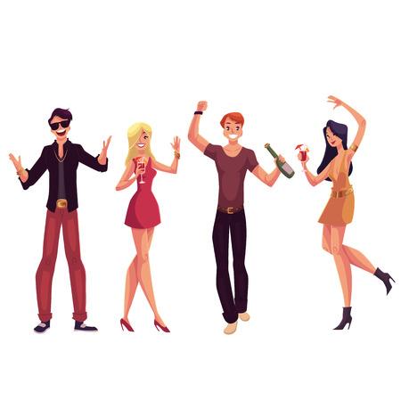 Les jeunes gens qui dansent à une fête, boire des cocktails, amusant, vecteur de bande dessinée illustration isolé sur fond blanc. Les hommes et les femmes dansent dans une discothèque, ayant partie, cocktails potable Banque d'images - 68840042