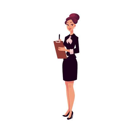 若い美しいレストラン、カフェ ブラック ドレス会議のゲストの女性マネージャー漫画ベクトル イラスト白背景に分離されました。タブレットでレ