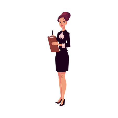 Young beautiful restaurant, cafe female manager in black dress meeting guests, cartoon vector illustration isolated on white background. Full length portrait of restaurant manager with a tablet