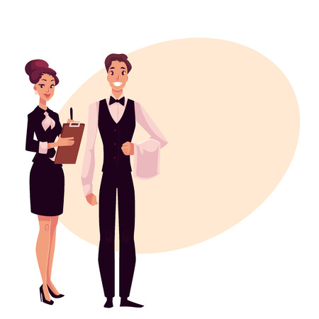 Young restaurant, cafe manager and a waiter, cartoon vector illustration on background with place for text. Full length portrait of restaurant manager, hostess in little black dress and waiter in uniform Illustration