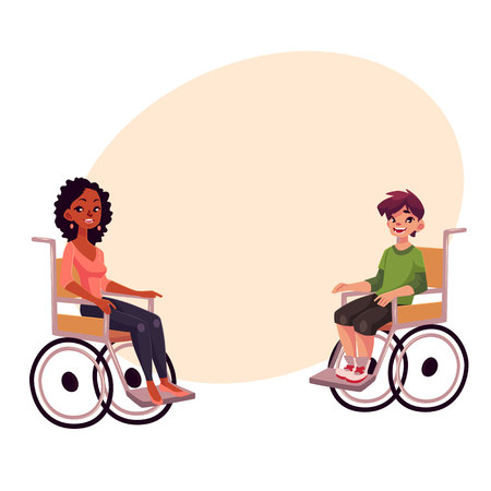 Young black woman and teenaged white boy in wheelchairs, cartoon vector illustration on background with place for text. African woman and Caucasian school boy in wheelchairs, equal opportunities concept
