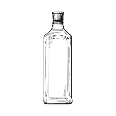 gin: Traditional blue gin glass bottle, sketch style vector illustration isolated on white background. Realistic hand drawing of an unlabeled, unopened gin bottle
