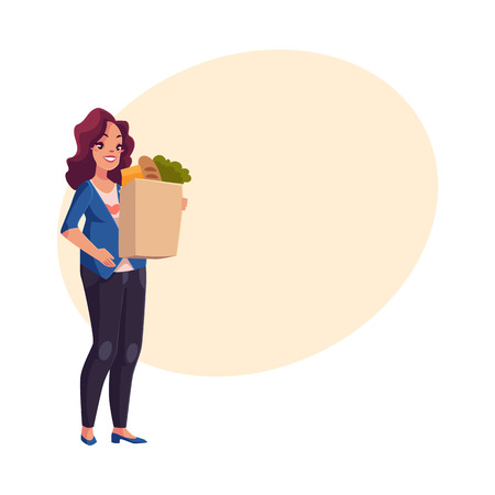 Half turned young pregnant woman holding shopping bag full of grocery products, cartoon vector on background with place for text. Pregnant woman with shopping bag buying food at grocery store