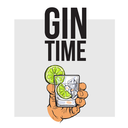 gin: Hand holding glass of gin, vodka, soda water with ice and lime, sketch style vector illustration for poster, banner, invitation design. Hand drawing of male hand with alcohol drink, gin time concept