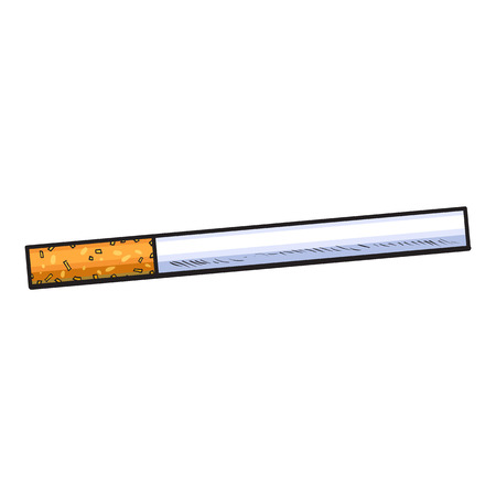 craft product: Unlit cigarette with yellow filter, side view, sketch vector illustration isolated on white background. Whole, new hand drawn cigarette, ready to smoke, tobacco product