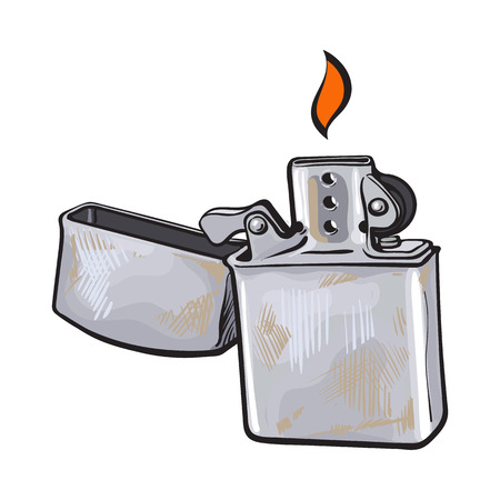 Silver metal windproof lighter with flame, sketch vector illustration isolated on white background. Realistic hand-drawing of silver colored metal lighter burning, smoker attribute Illustration