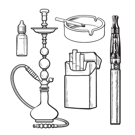 usual: Hookah, pack, ashtray, electronic cigarette and tobacco e-liquid, sketch vector illustration isolated on white background. Hand drawn hookah, electronic and usual cigarettes, ashtray Illustration