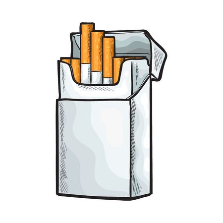 Unlabeled standing open pack of cigarettes, sketch vector illustration isolated on white background. Realistic hand-drawing of open unlabeled pack with unlit cigarettes Stock Vector - 68840109