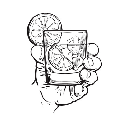 Hand holding glass of gin, vodka, soda water with ice and lime slices, sketch style vector illustration isolated on white background. Hand drawing of male hand with alcohol drink