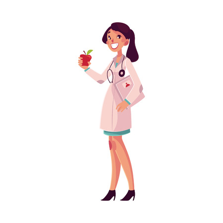 Glad, smiling female dietitian holding weigh scales and apple, cartoon vector illustration isolated on white background. Female dietician, nutrition, dieting expert, health care professional Illustration