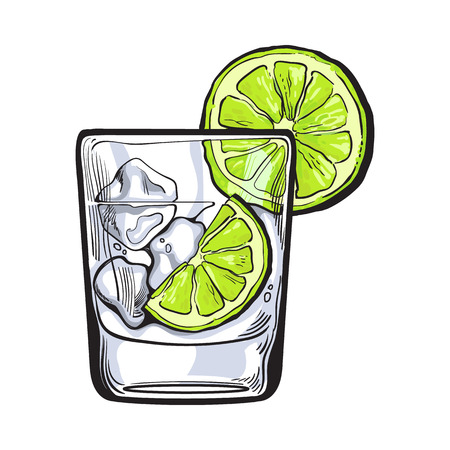 gin: Glass of gin, vodka, soda water with ice and lime, sketch style vector illustration isolated on white background. Realistic hand drawing of transparent alcohol shot with ice rocks and lime slices