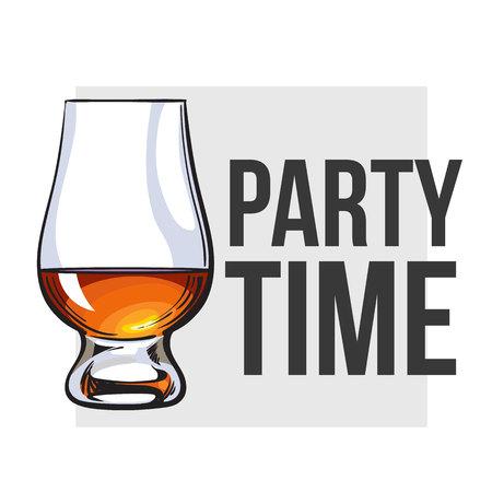 Scotch whisky, rum, brandy nosing glass, vettore di schizzo stile per poster, banner, design invito. Realistico disegno a mano di un bicchiere di vetro per whisky, scotch, brandy, concetto di partito