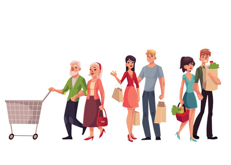 middle aged: Couples of young, middle aged and old, senior people shopping together, cartoon vector illustration isolated on white background. Young and old couples holding shopping bags, walking in the mall Illustration