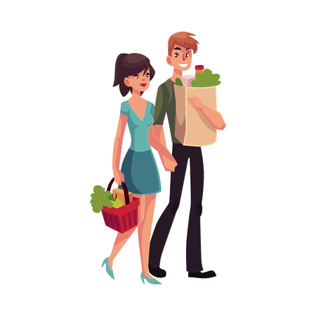 middle aged woman: Young couple buying food at grocery store, cartoon vector illustration isolated on white background. Full length portrait of young boy and girl carrying shopping bags with food products