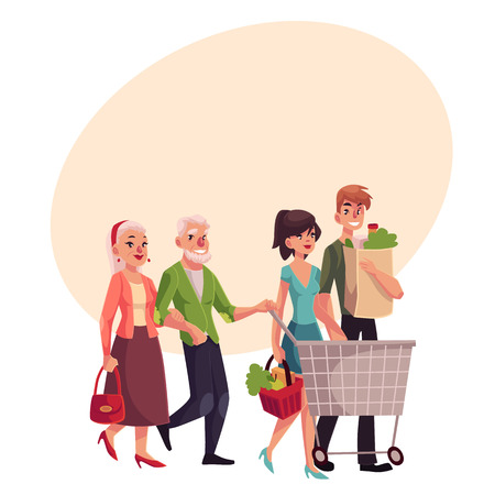 grandchildren: Old and young couples shopping together, buying food in grocery store, cartoon vector illustration on background with place for text. Grandparents and grandchildren doing shopping together