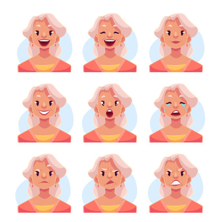 Grey haired old lady face expression, set of cartoon vector illustrations isolated on blue background. Old woman, grandmother emoji face icons, set of female avatars with different emotions