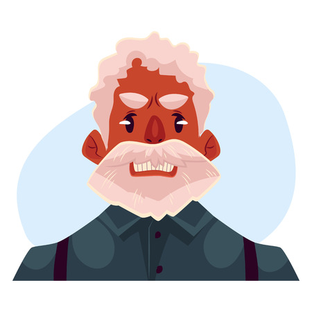 black haired: Grey haired old african man face, angry facial expression cartoon vector on blue background. Old black man, grandfather frowns, feeling distresses, frustrated, sullen, upset. Angry face expression