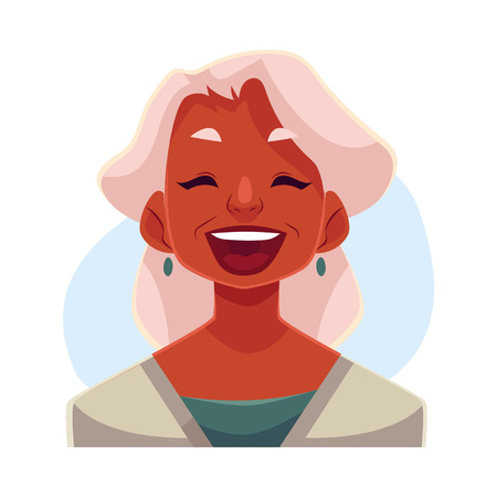 Grey haired old african lady, laughing facial expression, cartoon vector illustrations isolated on blue background. Old black woman laughing out load with closed eyes and open mouth. Laughing Illustration
