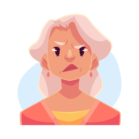 Grey haired old lady , angry facial expression, cartoon vector illustrations isolated on blue background. Old woman frowns, feeling distressed, frustrated, sullen, upset. Angry face expression