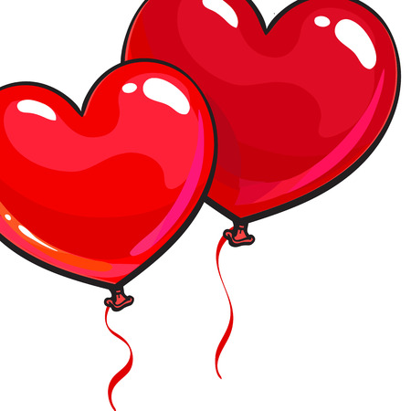 bunch of hearts: Two bright and colorful heart shaped balloons, cartoon vector illustration isolated on white background. Pair of red colored heart balloons, symbol of love, greeting card template Illustration