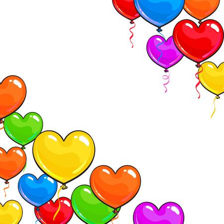 Runder Rahmen Von Hellen Und Bunten Herzförmige Luftballons, Cartoon ...