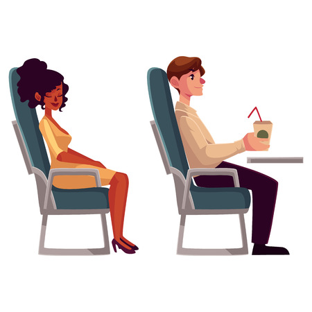 Airplane passengers - young black, african woman and man drinking coffee from paper cup, cartoon vector illustration on white background. Airplane seats occupied by man drinking and woman sleeping