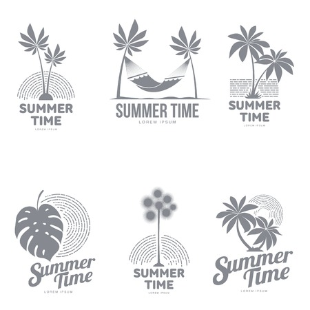 Set of black and white, silhouette templates with palm tree, hammock, monstera leaf, vector illustration isolated on white background. Graphic templates with tropic palms