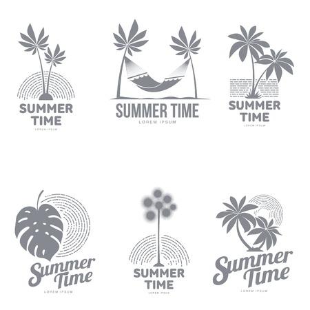 Set van zwart en wit, silhouet sjablonen met palmboom, hangmat, monstera blad, vectorillustratie geïsoleerd op een witte achtergrond. Grafische sjablonen met tropische palmen Stock Illustratie
