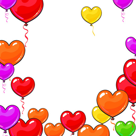 Round frame of bright and colorful heart shaped balloons, cartoon vector illustration isolated on white background. Multicolored heart balloons, round frame decoration, greeting card template Vetores