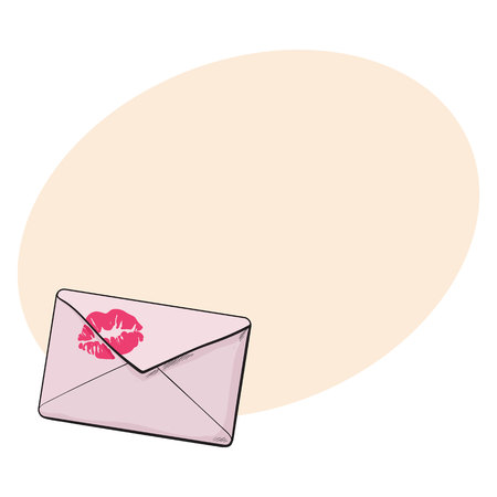 fondly: Backside of pink envelope with red lipstick kiss, sketch vector illustration isolated on background with place for text. Hand drawing of pink colored enveloped with a lipstick kiss, love letter, romantic message