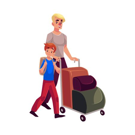 airport luggage: Young man pushing airport luggage trolley with his son cartoon illustration isolated on white background. Young father and son going on vacation in the airport Stock Photo