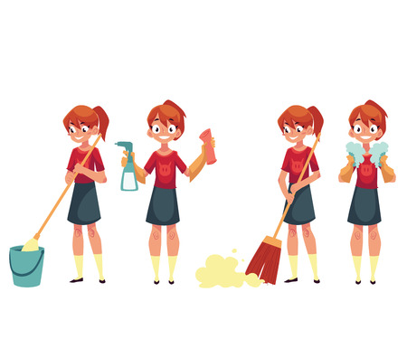 Teenage girl cleaning the house, doing chores, cartoon vector illustration isolated on white background. Set of girl cleaning home with mop and water, broom, cloth and sprinkler, washing dishes