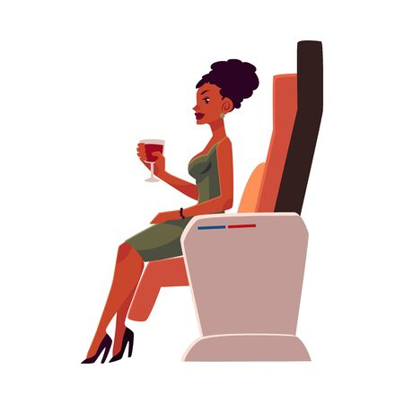 black american: Black, African American lady, woman holding wineglass, seating in airplane business class, cartoon vector illustration on white background. Businesswoman seating in business class and drinking wine Stock Photo