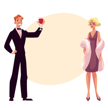 Man and woman in 1920s style clothes at a vintage party, cartoon style vector illustration on background with place for text. Man in black smoking and woman in pink vintage dress and mantel