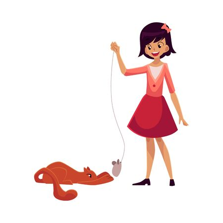 her: Teenage girl standing and playing with her red cat, cartoon vector illustration on white background. Full length portrait of black haired girl playing with her cat using toy mouse