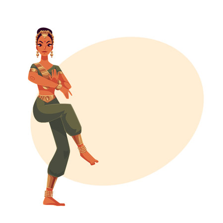 harem: Indian female dancer in traditional costume, cartoon vector illustration on background with place for text. Traditional Indian female dancer in sari, national costume, Bollywood performer