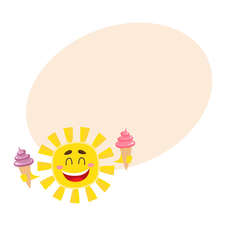 Smiling, happy sun holding ice cream, cartoon vector illustration on background with place for text. Cute and funny sun character with cold ice cream, symbol of summer and vacation Stock Photo