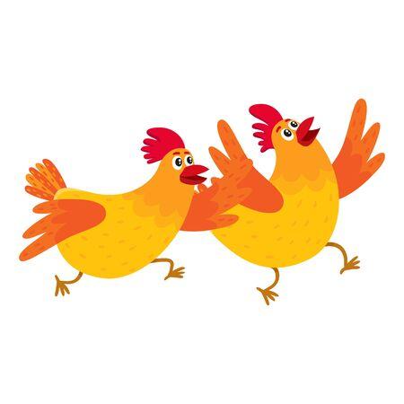Twee grappige cartoon oranje kippen, kippen haasten, haast ergens, springen excitedly, vector illustratie geïsoleerd op een witte achtergrond. Leuke en grappige kippen die ergens enthousiast rond rennen