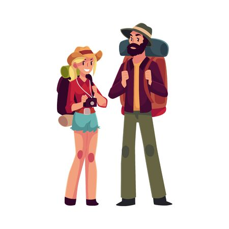 sleeping bags: Young man and woman with backpacks and camera, travelling together, cartoon illustration isolated on white background. Couple of backpackers, hitchhikers, travelers, pretty girl and hipster man