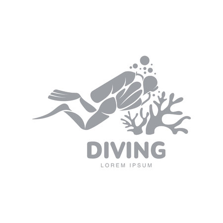 Black And White Graphic Diving Template With Diver Mask Scuba Templates