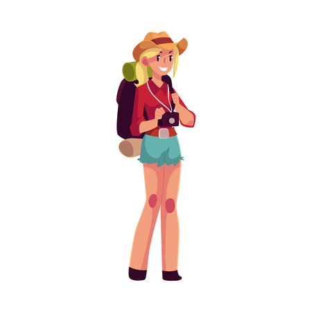 sleeping bags: Young pretty girl travelling, hitchhiking with backpack and camera, cartoon illustration isolated on white background. Female backpacker, hitchhiker in cowboy hat and shorts with backpack and camera