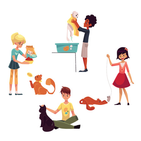 Happy kids feeding, washing, stroking a cat, playing with pet, cartoon vector illustration on white background. Set of children with cat, kitten - playing with it, washing, feeding, stroking